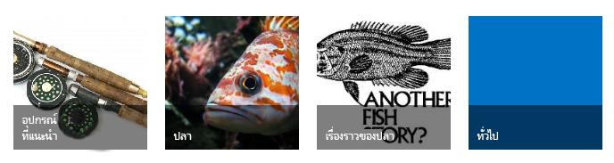 ไทล์ 4 ประเภท แต่ละอันมีรูปการตกปลาและชื่อเรื่อง