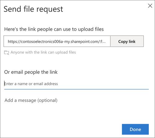 กล่องโต้ตอบส่งการร้องขอไฟล์ที่ให้ตัวเลือกลิงก์หรือที่อยู่อีเมลใน OneDrive for Business