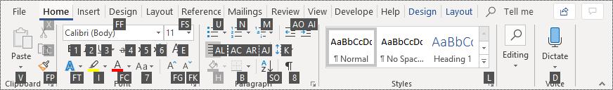 เคล็ดลับแป้นพิมพ์ใน Ribbon ใน Word 365