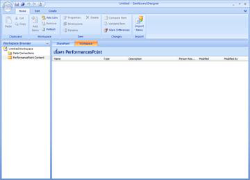 PerformancePoint Dashboard Designer ที่คุณสามารถสร้าง แก้ไข และประกาศเนื้อหาแดชบอร์ด