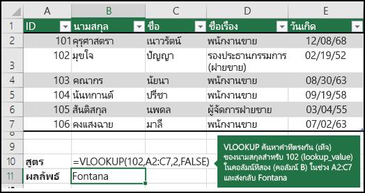 ตัวอย่าง VLOOKUP 2