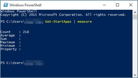 สคริปต์ Windows PowerShell กับจำนวนแอป