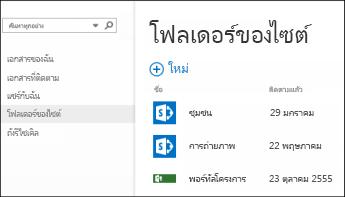เลือก โฟลเดอร์ไซต์ ในแถบ การกระทำด่วน ใน Office 365 เพื่อดูรายการของไซต์ SharePoint Online ที่คุณกำลังติดตาม