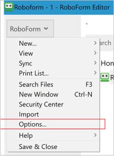 เมนูตัวเลือก Roboform บนเดสก์ท็อป