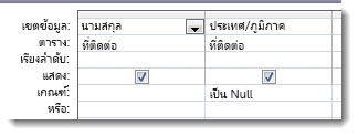รูปภาพแสดงเขตข้อมูลเกณฑ์ในตัวออกแบบคิวรีที่มีเกณฑ์ Is Null