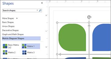 รายการรูปร่างที่พร้อมใช้งานในครึ่งซ้ายของรูปภาพและรูปร่างที่เลือกในครึ่งขวา