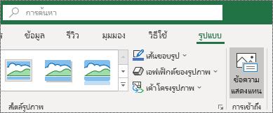 ปุ่มข้อความแสดงแทนบน ribbon ของ Excel สำหรับ Windows