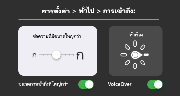 การช่วยสำหรับการเข้าถึงทั่วไป: ข้อความขนาดใหญ่ขึ้นและการตั้งค่า VoiceOver