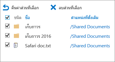 SharePoint 2016 2nd ระดับถังรีไซเคิลกับรายการที่เลือกและลบที่ถูกเน้นทั้งหมด