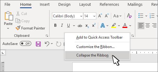ยุบการเลือก ribbon