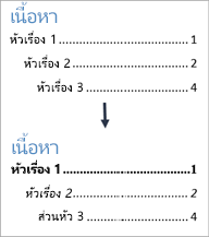 แสดงมุมมองก่อนและหลังการจัดรูปแบบสไตล์ข้อความในสารบัญ