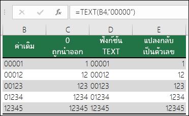 """ตัวอย่างของการใช้ TEXT เพื่อจัดรูปแบบเลขศูนย์นำหน้า =TEXT(A2,""""00000"""")"""