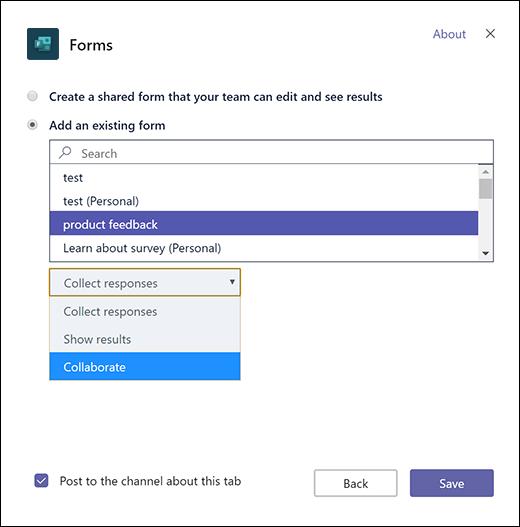 เพิ่มฟอร์มกลุ่มที่มีอยู่ลงในทีม Microsoft