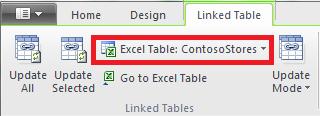 Ribbon ที่ลิงก์ที่ระบุถึงตาราง Excel