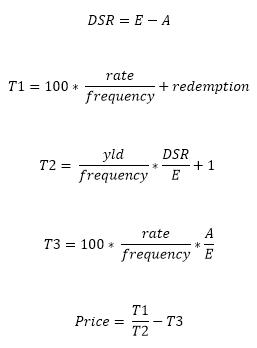สูตร PRICE เมื่อ N <= 1