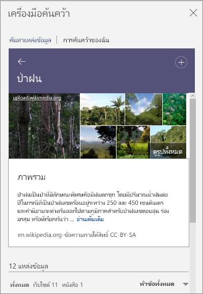 บานหน้าต่างของเครื่องมือค้นคว้าแสดงผลลัพธ์การค้นหา ป่าดิบชื้น