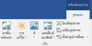 เอาพื้นหลังปุ่ม แสดงบนแท็บรูปแบบของเครื่องมือรูปภาพของ Ribbon ใน Office 2016