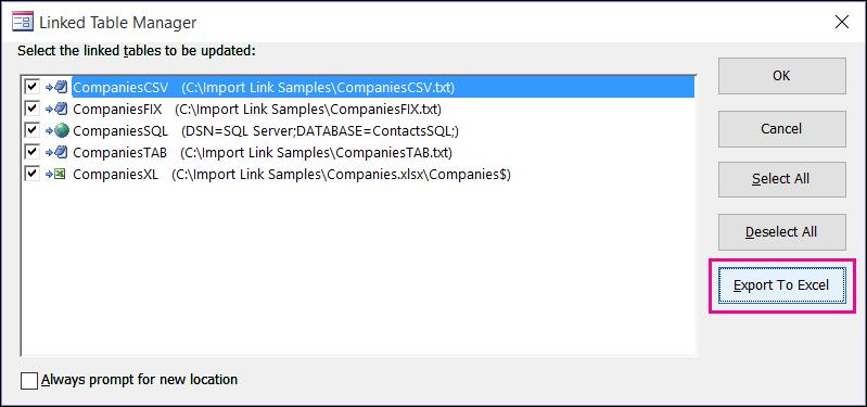 กล่องโต้ตอบตัวจัดการตารางที่ลิงก์ใน Access ที่มีปุ่ม ส่งออกไปยัง Excel ถูกเลือกเอาไว้