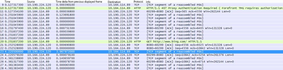 ใน Wireshark คอลัมน์ 'Time delta from previous displayed frame' สามารถถูกสร้างขึ้นได้โดยการคลิกขวาที่เขตข้อมูลชื่อเดียวกันในรายละเอียดเฟรม แล้วเลือก Add as Column