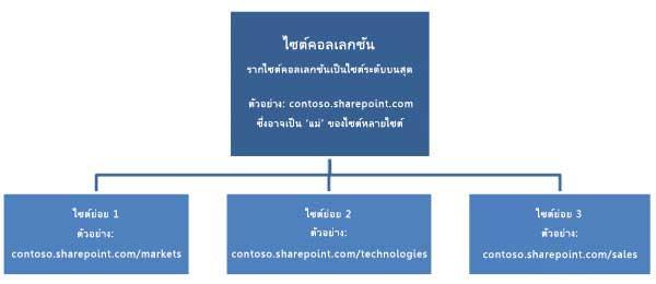 ไดอะแกรมแบบลำดับชั้นของไซต์คอลเลกชันที่แสดงไซต์ระดับบนสุดและไซต์ย่อย