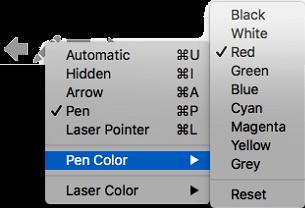 คุณสามารถเลือกจากตัวเลือกหลายตัวเลือกสำหรับสีของตัวชี้ปากกา