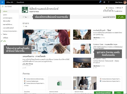 โฮมเพจของไซต์ทีมแบบออนไลน์ของ SharePoint