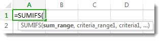 การใช้การทำให้สูตรสมบูรณ์อัตโนมัติเพื่อใส่ฟังก์ชัน SUMIFS