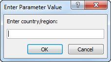 """พร้อมท์พารามิเตอร์ที่มีข้อความ """"ใส่ประเทศ/ภูมิภาค:"""""""