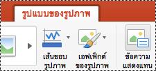 ปุ่มข้อความแสดงแทนบน Ribbon ใน PowerPoint for Mac