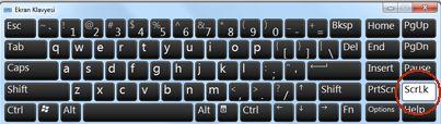 Windows Ekran Klavyesi'nde Kaydırma Kilidi tuşu