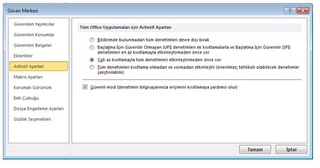 Güven Merkezi'nin ActiveX Ayarları