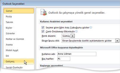 Outlook Seçenekleri iletişim kutusunda Gelişmiş komutu