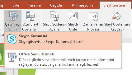 PowerPoint'te çevrimiçi sunum yapma seçeneklerini gösterir