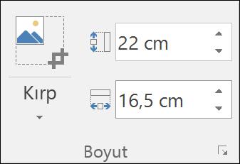 Yükseklik ve genişlik ayarları gösteren ekran görüntüsü