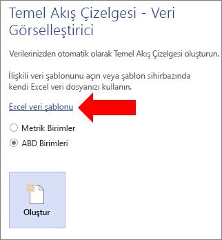 Excel Veri Şablonu bağlantısını seçme