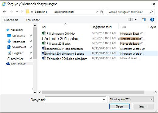 SharePoint iletişim kutusu karşıya yüklenecek dosyayı seçin.