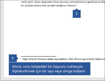 Word belgesinde bir başvuru noktası Not ilişkilendirmek için bir sayı veya simge kullanır