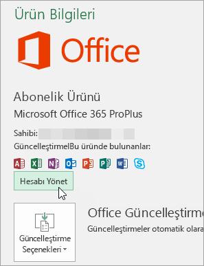 Office masaüstü uygulamasında hesap sayfasında hesap yönetme seçme ekran görüntüsü