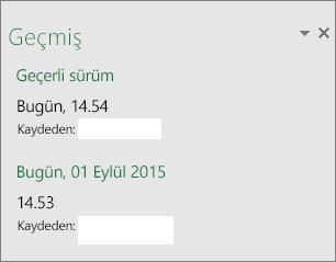 Windows için Excel 2016'daki Geçmiş bölmesi