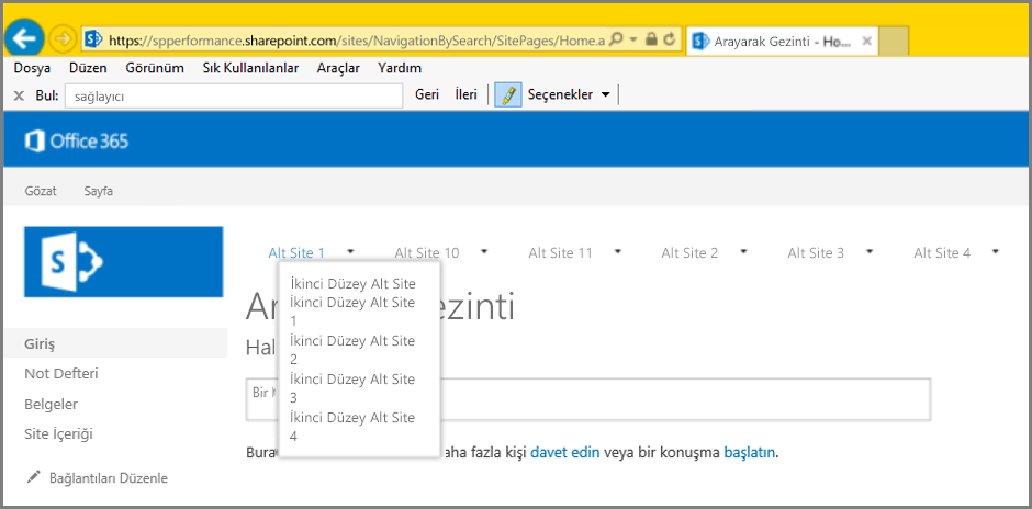 Screenshot of navigation results