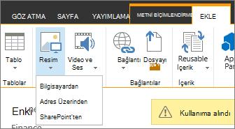 Kaynak Seçenekler menüsü altındaki Resim Ekle düğmesini.