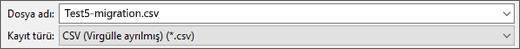 Excel'de CSV Olarak Kaydet seçeneğini gösterir
