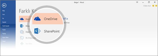 Belgeyi kaydetmeye yönelik OneDrive ve SharePoint konumları vurgulanır