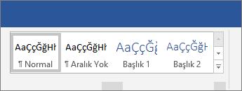 Word Şeritte seçenekler stilleri uygulama