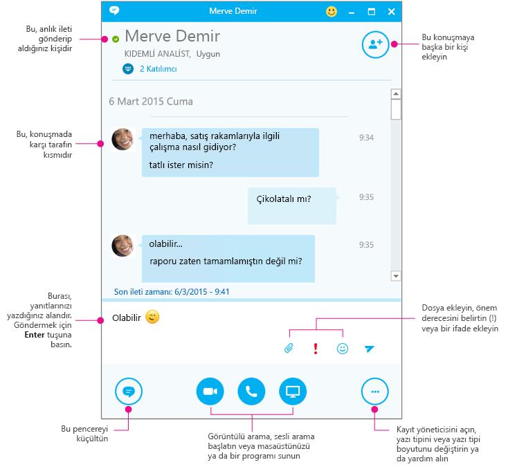 Skype Kurumsal anlık mesaj bölmesi, diyagramlı