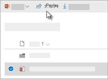 Bir dosyayı seçme ve Paylaş komutuna tıklama işlemini gösteren ekran görüntüsü