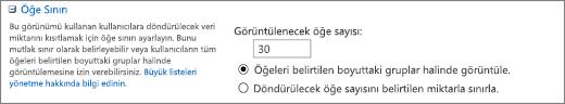 Görünüm Ayarları sayfasında görüntülenecek öğe sayısını ayarlama