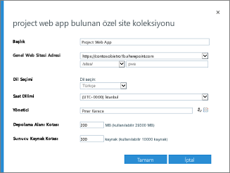 Project Web App ile Özel Site Koleksiyonu