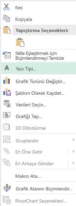Vurgulanan yazı tipi seçeneği seçimi kategori eksen etiketlerinin dahil olmak üzere, sonra kısayol menüsündeki seçeneklerinin ekran görüntüsü.