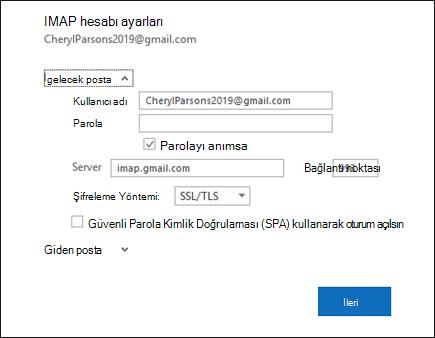 Kullanıcı adınızı, şifrenizi ve sunucu ayarlarınızı değiştirmek için sunucu ayarları 'nı seçin.